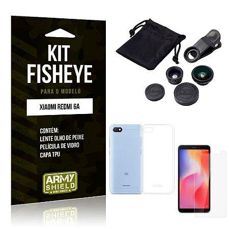 Kit Fisheye Xiaomi Redmi 6A Lente Fisheye + Capa + Película de Vidro - Armyshield
