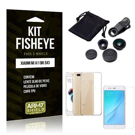 Kit Fisheye Xiaomi Mi A1 Lente Fisheye + Capa + Película de Vidro - Armyshield