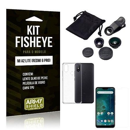 Kit Fisheye Xiaomi Mi A2 Lite Lente Fisheye + Capa + Película de Vidro - Armyshield