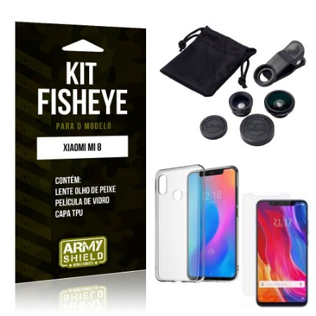 Kit Fisheye Xiaomi Mi 8 Lente Fisheye + Capa + Película de Vidro - Armyshield