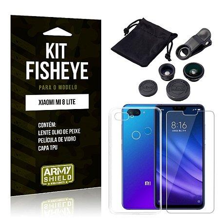 Kit Fisheye Xiaomi Mi 8 Lite Lente Fisheye + Capa + Película de Vidro - Armyshield