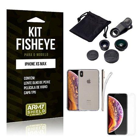 Kit Fisheye Apple iPhone XS Max Lente Fisheye + Capa + Película de Vidro - Armyshield