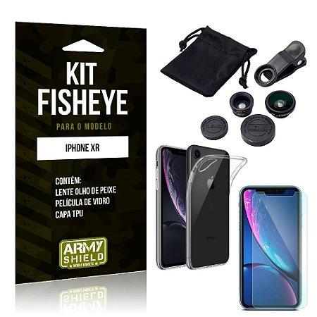 Kit Fisheye Apple iPhone XR Lente Fisheye + Capa + Película de Vidro - Armyshield