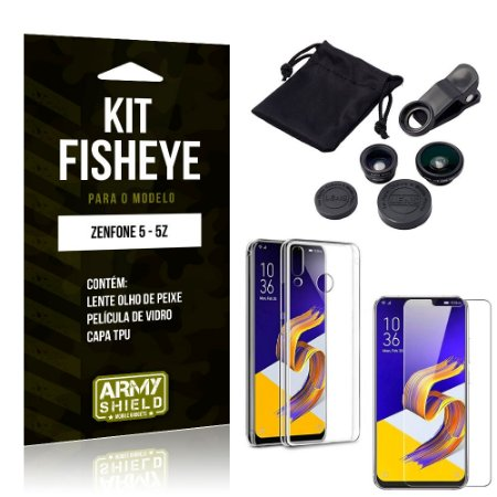 Kit Fisheye Asus Zenfone 5/5z Lente Fisheye + Capa + Película de Vidro - Armyshield