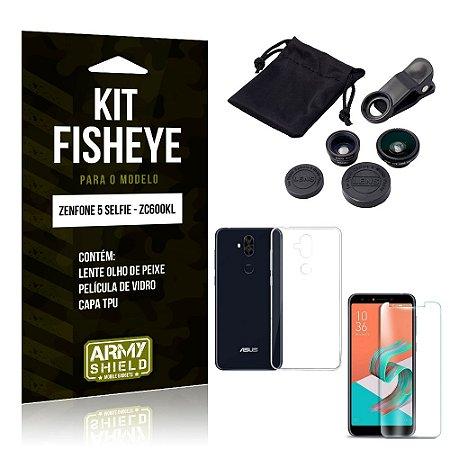Kit Fisheye Asus Zenfone 5 Selfie Lente Fisheye + Capa + Película de Vidro - Armyshield