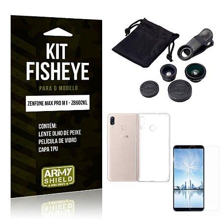 Kit Fisheye Asus Zenfone Max Pro M1 Lente Fisheye + Capa + Película de Vidro - Armyshield