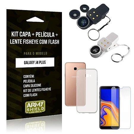 Kit Fisheye com Flash Samsung Galaxy J4 Plus Fisheye Flash + Capa + Película de Vidro - Armyshield