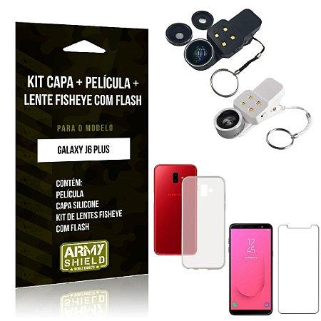 Kit Fisheye com Flash Samsung Galaxy J6 Plus Fisheye Flash + Capa + Película de Vidro - Armyshield