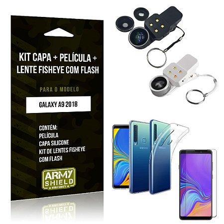 Kit Fisheye com Flash Samsung Galaxy A9 2018 Fisheye Flash + Capa + Película de Vidro - Armyshield