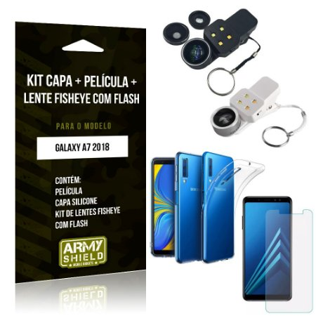Kit Fisheye com Flash Samsung Galaxy A7 2018 Fisheye Flash + Capa + Película de Vidro - Armyshield
