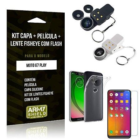 Kit Fisheye com Flash Motorola Moto G7 Play Fisheye Flash + Capa + Película de Vidro - Armyshield
