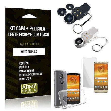 Kit Fisheye com Flash Motorola Moto E5 Plus Fisheye Flash + Capa + Película de Vidro - Armyshield