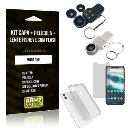 Kit Fisheye com Flash Motorola Moto One Fisheye Flash + Capa + Película de Vidro - Armyshield