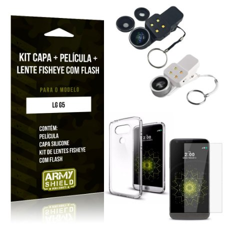 Kit Fisheye com Flash LG  G5 Fisheye Flash + Capa + Película de Vidro - Armyshield