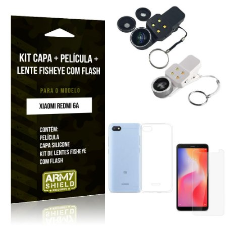 Kit Fisheye com Flash Xiaomi Redmi 6A Fisheye Flash + Capa + Película de Vidro - Armyshield