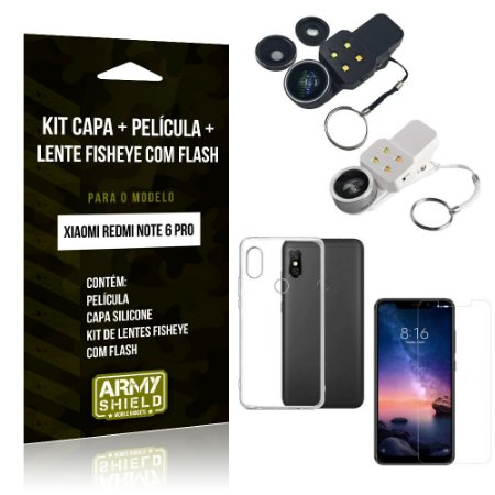 Kit Fisheye com Flash Xiaomi Redmi Note 6 Pro Fisheye Flash + Capa + Película de Vidro - Armyshield