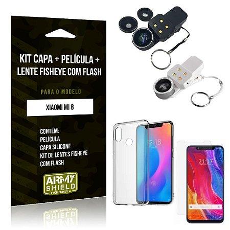 Kit Fisheye com Flash Xiaomi Mi 8 Fisheye Flash + Capa + Película de Vidro - Armyshield