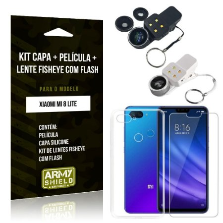 Kit Fisheye com Flash Xiaomi Mi 8 Lite Fisheye Flash + Capa + Película de Vidro - Armyshield