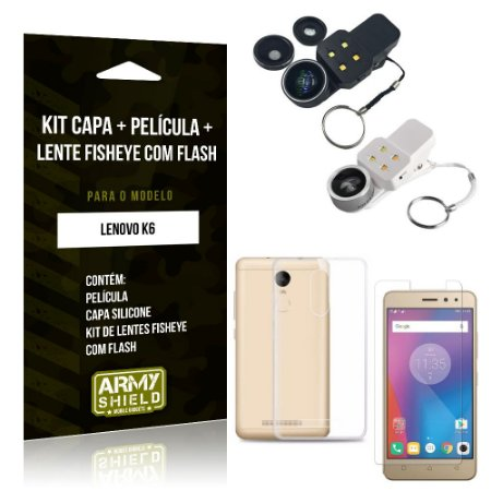 Kit Fisheye com Flash Lenovo  K6 Fisheye Flash + Capa + Película de Vidro - Armyshield