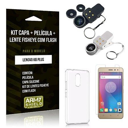 Kit Fisheye com Flash Lenovo  K6 Plus Fisheye Flash + Capa + Película de Vidro - Armyshield