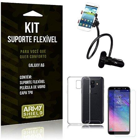 Kit Suporte Flexível Samsung Galaxy A6 Suporte + Capa + Película de Vidro - Armyshield