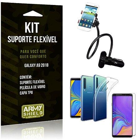 Kit Suporte Flexível Samsung Galaxy A9 2018 Suporte + Capa + Película de Vidro - Armyshield