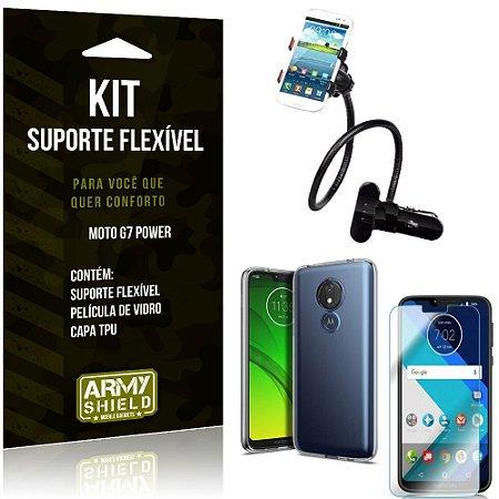 Kit Suporte Flexível Motorola Moto G7 Power Suporte + Capa + Película de Vidro - Armyshield