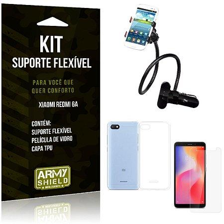 Kit Suporte Flexível Xiaomi Redmi 6A Suporte + Capa + Película de Vidro - Armyshield