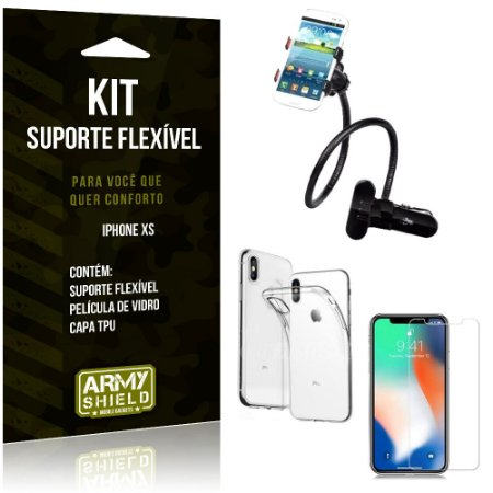 Kit Suporte Flexível Apple iPhone XS Suporte + Capa + Película de Vidro - Armyshield
