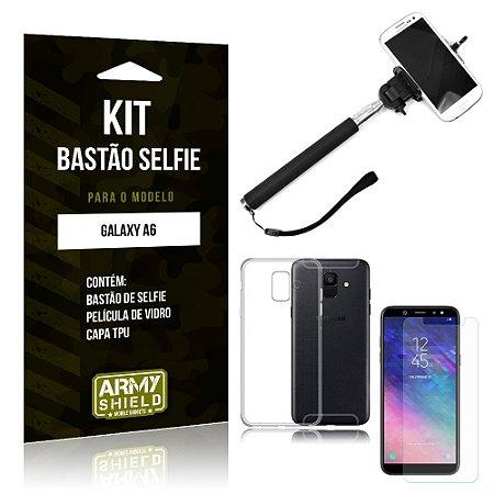 Kit Bastão de Selfie Samsung Galaxy A6 Bastão + Capa + Película de Vidro - Armyshield