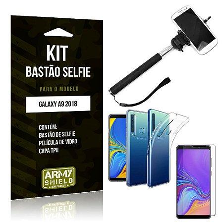 Kit Bastão de Selfie Samsung Galaxy A9 2018 Bastão + Capa + Película de Vidro - Armyshield
