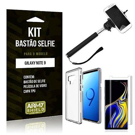 Kit Bastão de Selfie Samsung Galaxy Note 9 Bastão + Capa + Película de Vidro - Armyshield
