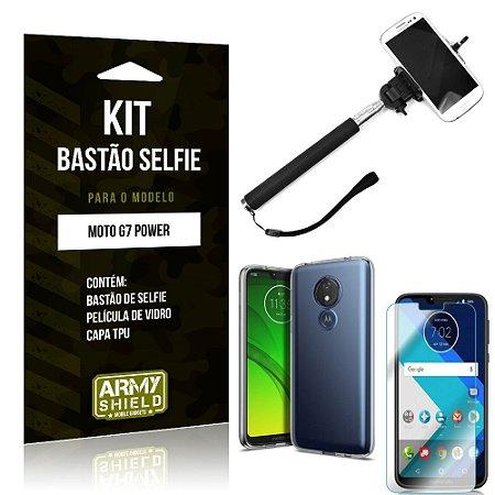 Kit Bastão de Selfie Motorola Moto G7 Power Bastão + Capa + Película de Vidro - Armyshield