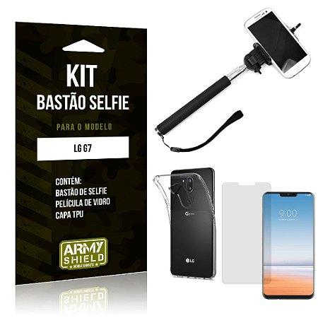 Kit Bastão de Selfie LG  G7 Bastão + Capa + Película de Vidro - Armyshield
