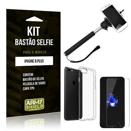 Kit Bastão de Selfie Apple iPhone 8 Plus Bastão + Capa + Película de Vidro - Armyshield