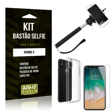 Kit Bastão de Selfie Apple iPhone X Bastão + Capa + Película de Vidro - Armyshield