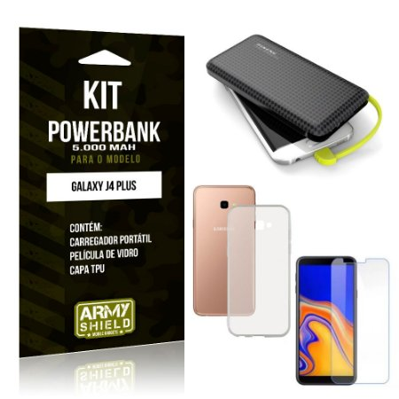 Kit Carregador Portátil 5K Galaxy J4 Plus Powerbank 5000mah + Capa + Película de Vidro - Armyshield