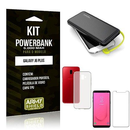 Kit Carregador Portátil 5K Galaxy J6 Plus Powerbank 5000mah + Capa + Película de Vidro - Armyshield