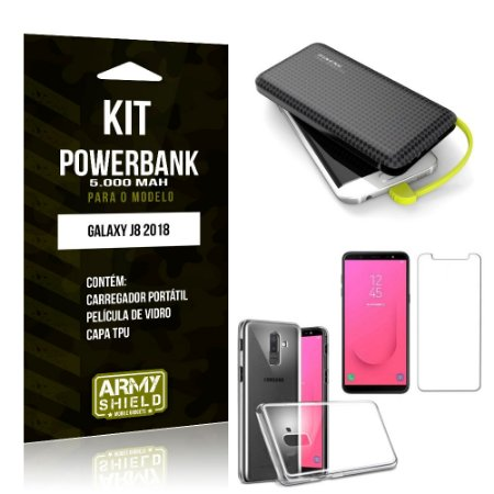 Kit Carregador Portátil 5K Galaxy J8 Powerbank 5000mah + Capa + Película de Vidro - Armyshield