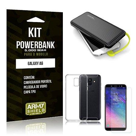 Kit Carregador Portátil 5K Galaxy A6 Powerbank + Capa + Película de Vidro - Armyshield