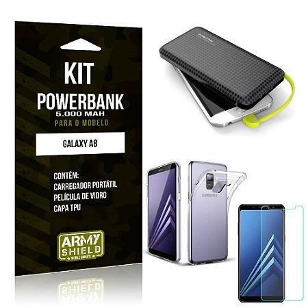 Kit Carregador Portátil 5K Tipo C Galaxy A8 Powerbank + Capa + Película de Vidro - Armyshield