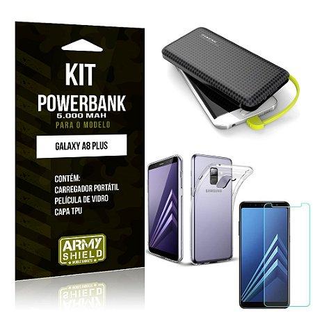 Kit Carregador Portátil 5K Tipo C Galaxy A8 Plus Powerbank + Capa + Película de Vidro - Armyshield