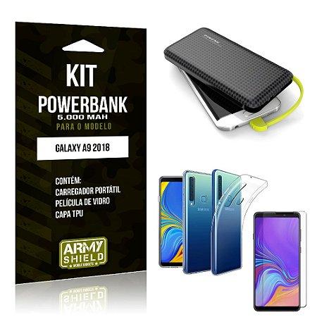 Kit Carregador Portátil 5K Tipo C Galaxy A9 2018 Powerbank + Capa + Película de Vidro - Armyshield