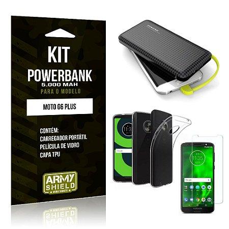 Kit Carregador Portátil 5K Moto G6 Plus Powerbank 5000mah + Capa + Película de Vidro - Armyshield