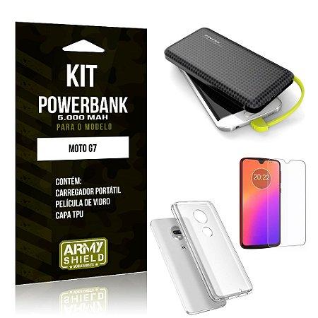 Kit Carregador Portátil 5K Tipo C Moto G7 Powerbank + Capa + Película de Vidro - Armyshield