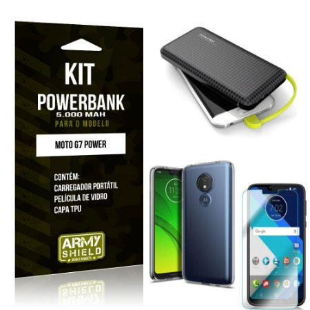 Kit Carregador Portátil 5K Tipo C Moto G7 Power Powerbank + Capa + Película de Vidro - Armyshield