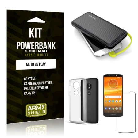 Kit Carregador Portátil 5K Moto E5 Play Powerbank 5000mah + Capa + Película de Vidro - Armyshield