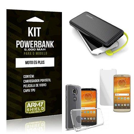 Kit Carregador Portátil 5K Moto E5 Plus Powerbank 5000mah + Capa + Película de Vidro - Armyshield
