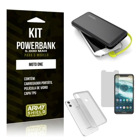 Kit Carregador Portátil 5K Tipo C Moto One Powerbank + Capa + Película de Vidro - Armyshield