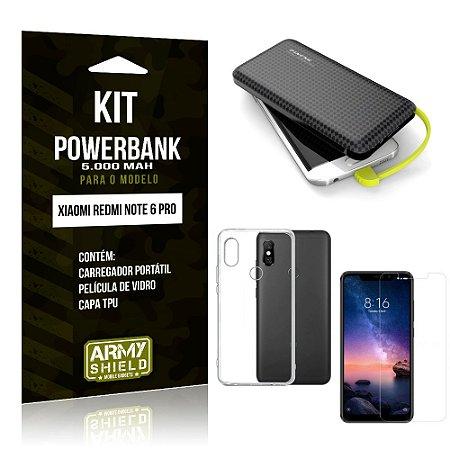 Kit Carregador Portátil 5K Redmi Note 6 Pro Powerbank 5000mah + Capa + Película Vidro - Armyshield